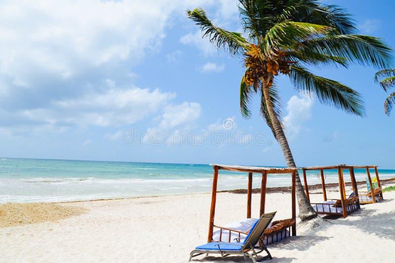 Tulum海滩,尤加坦,墨西哥 免版税库存图片
