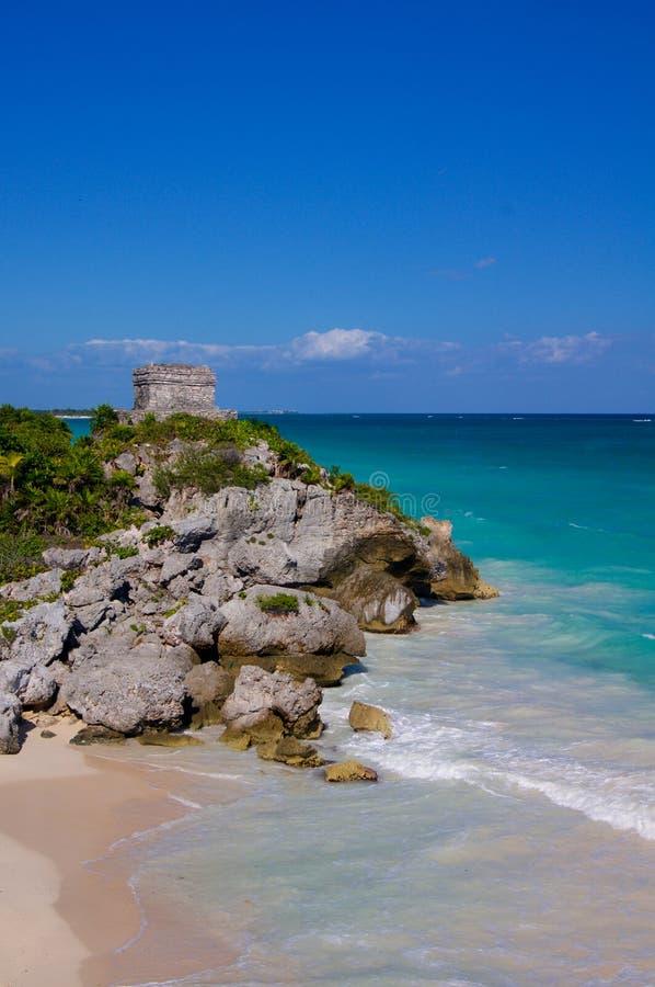 Tulum świątynia na Karaibskim wybrzeżu obraz stock