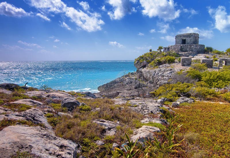 Tulum. The Mayan ruins of Tulum in Mexico stock images