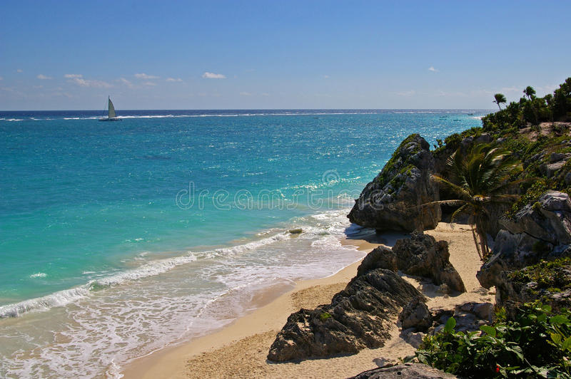 Download Tulum beach stock photo. Image of riviera, sailboat, exotic - 11010928