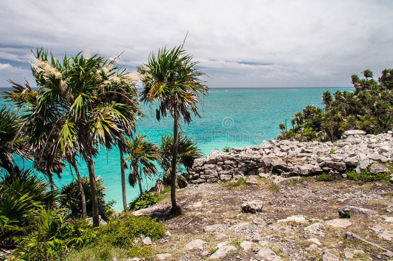 Tulum Beach Yucatan Mexico Stock Photo