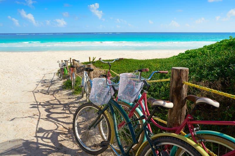 Tulum Caribbean beach bicycles Riviera Maya. Tulum Caribbean beach bicycles in Riviera Maya of Mayan Mexico stock images