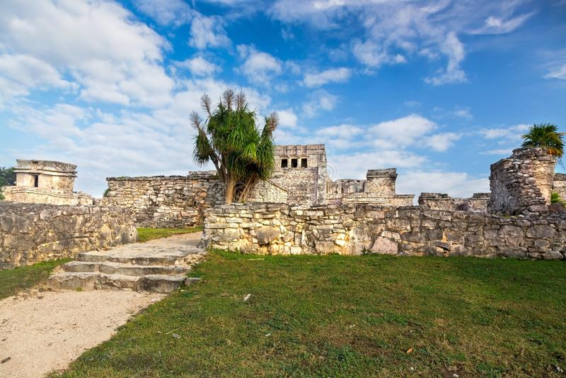 Tulum fördärvar den Mayan arkeologiska platscitadellMexico Yucatan halvön royaltyfri bild
