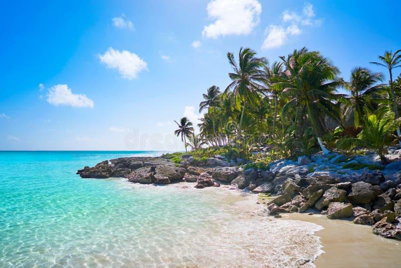 Tulum karibisk strand i Riviera Maya arkivfoton