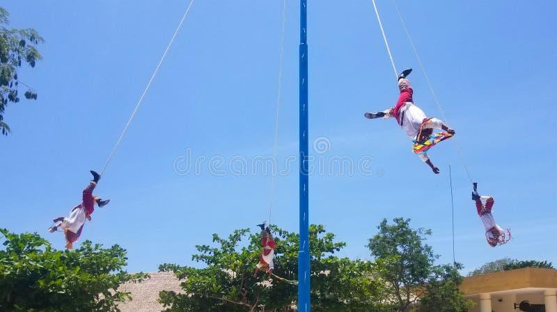 Tulum, Mexico - July 20, 2018: Danza de los Voladores & x28;Dance of royalty free stock photo