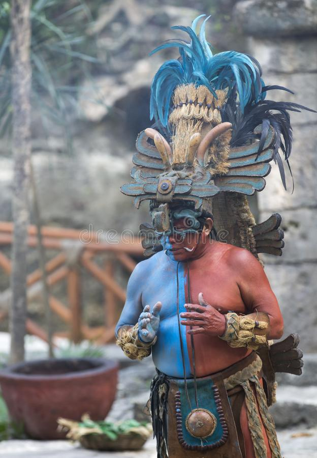 Man in Maya indian costume in Tulum, Mexico. Tulum, Mexico, March 12th, 2017: Man in Maya indian costume stock image