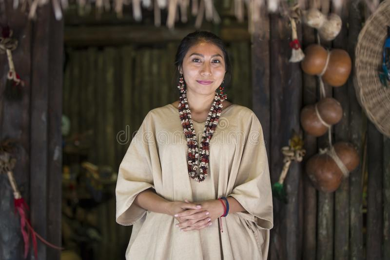 Mexican woman in Mayan clothing stock images