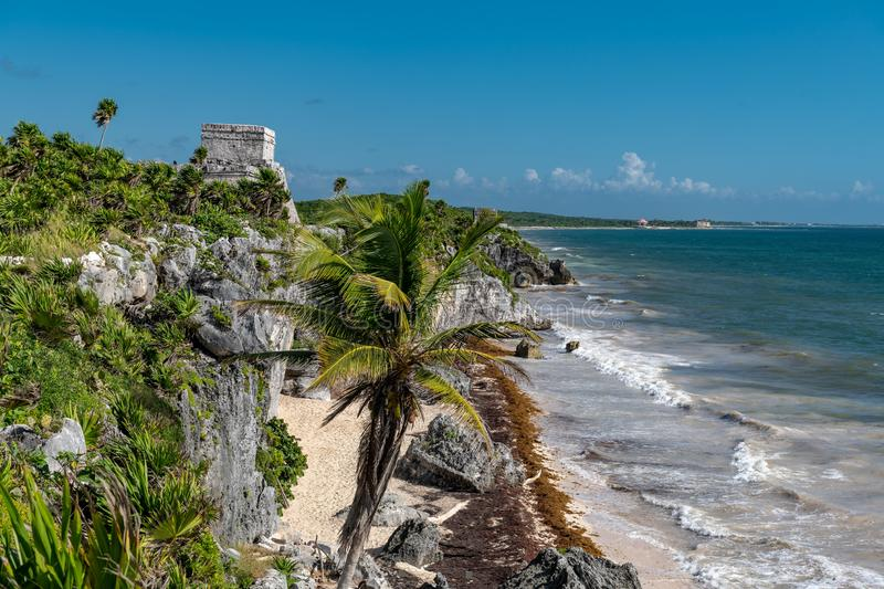 Tulum Mexico, Mayan ruins on top of the cliff. Beautiful beach in Tulum Mexico, Mayan ruins on top of the cliff stock images