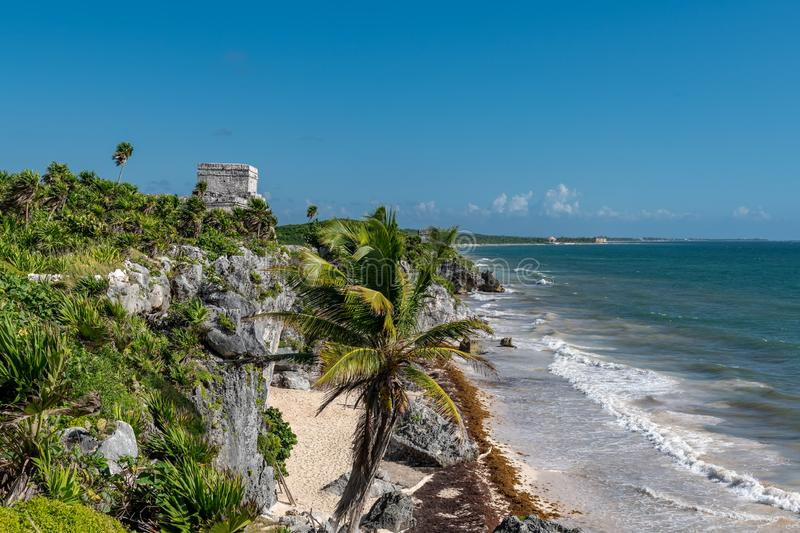 Tulum Mexico, Mayan ruins on top of the cliff. Beautiful beach in Tulum Mexico, Mayan ruins on top of the cliff stock photography