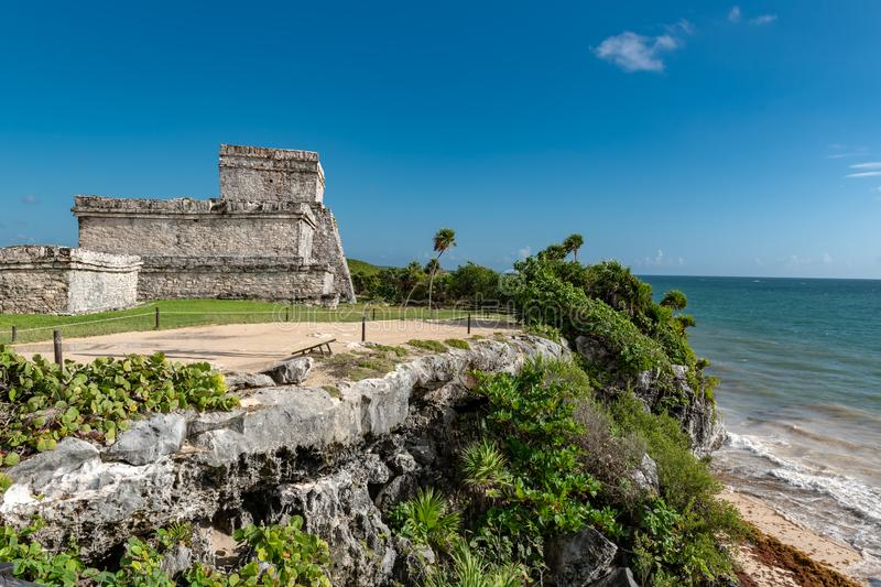 Tulum Mexico, Mayan ruins on top of the cliff. Beautiful beach in Tulum Mexico, Mayan ruins on top of the cliff stock photo