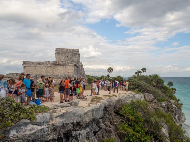 Tulum, Mexiko, Südamerika: [Tulum-Ruinen der alten Mayastadt, des touristischen Bestimmungsortes, des karibischen Meeres, des Gol lizenzfreie stockfotos