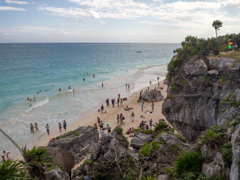 Tulum, Mexiko, Südamerika: [Tulum-Ruinen der alten Mayastadt, des touristischen Bestimmungsortes, des karibischen Meeres, des Gol stockfotografie