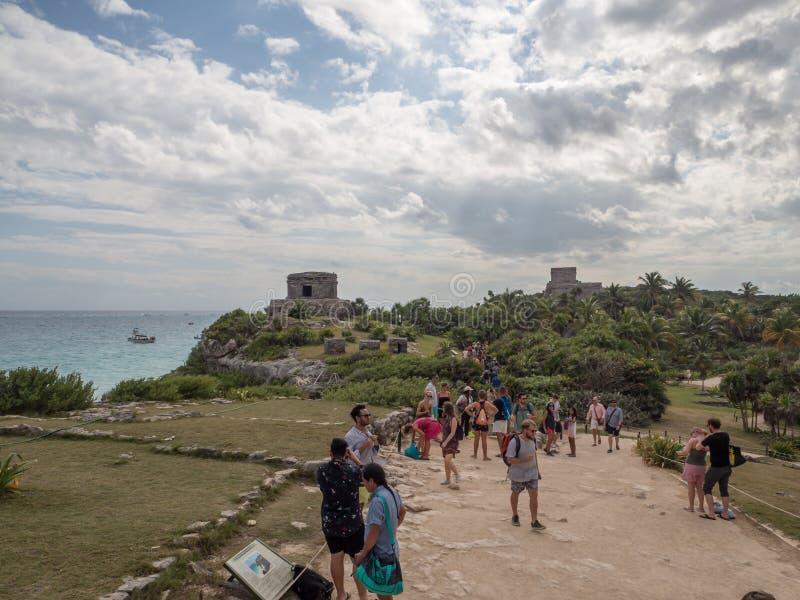 Tulum, Mexiko, Südamerika: [Tulum-Ruinen der alten Mayastadt, des touristischen Bestimmungsortes, des karibischen Meeres, des Gol stockbilder
