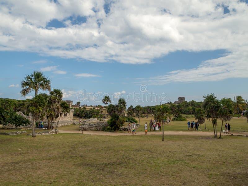 Tulum, Mexiko, Südamerika: [Tulum-Ruinen der alten Mayastadt, des touristischen Bestimmungsortes, des karibischen Meeres, des Gol lizenzfreie stockbilder