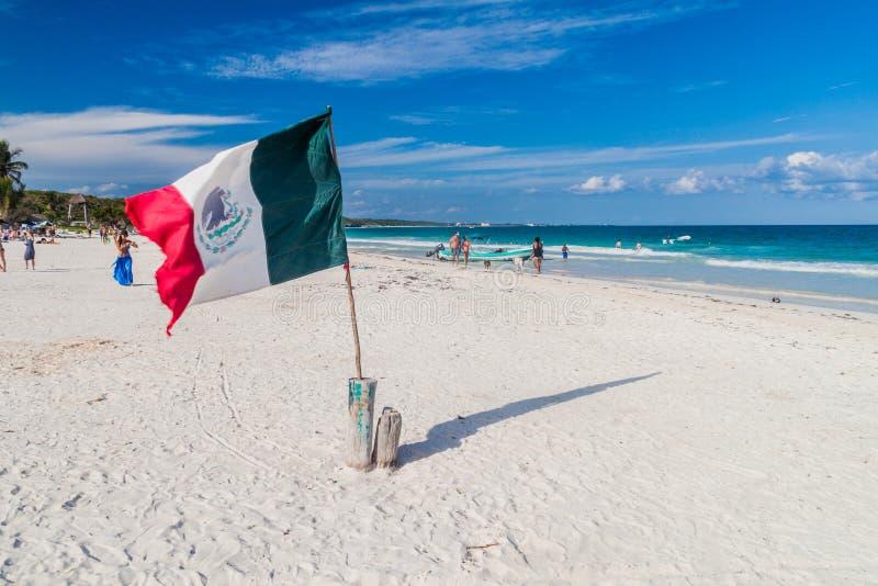 TULUM, MEXIO - 29. FEBRUAR 2016: Mexikanische Flagge am karibischen Strand in Tulum, Mexi lizenzfreie stockfotos