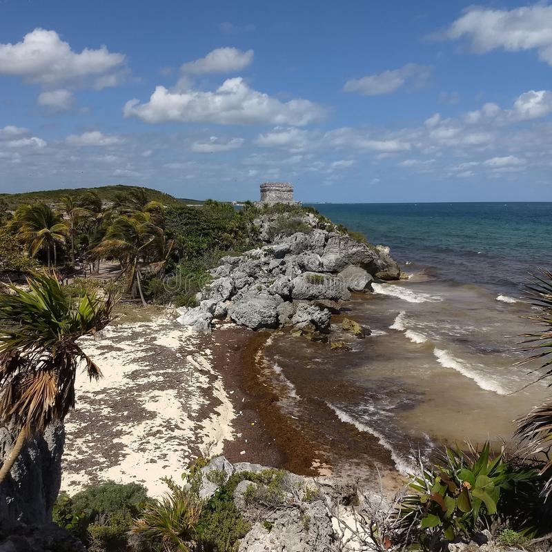 Tulum mexico mayan ruins royalty free stock image
