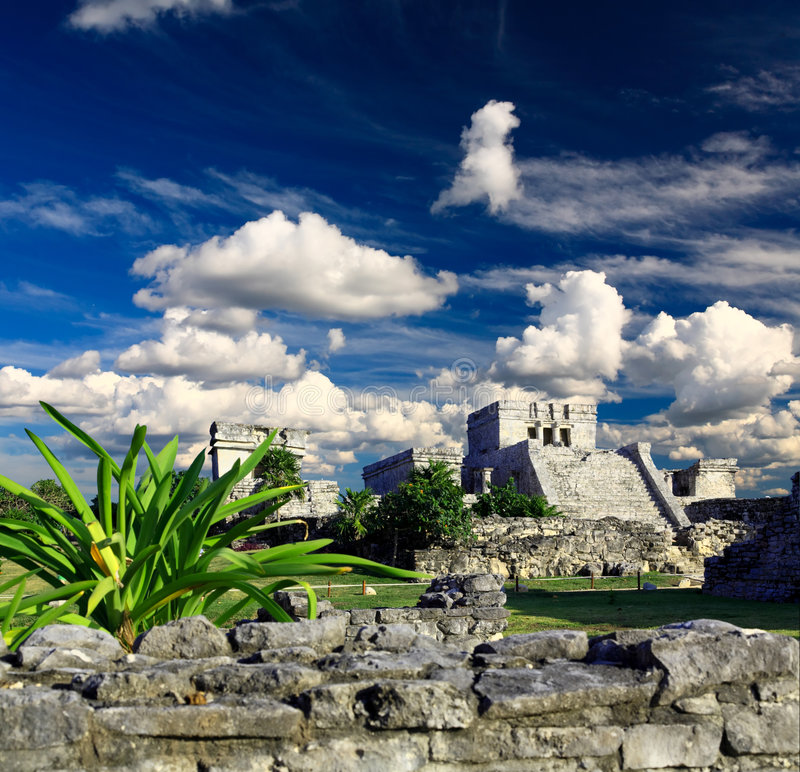 Tulum ruins in the Maya World near Cancun. Tulum the one of most famous landmark in the Maya World near Cancun Mexico royalty free stock photo