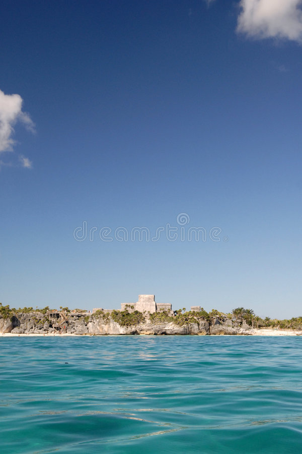 Tulum ruins Mexico. The Tulum Mayan ruins pictured on the east coast of the Yucatan peninsula in the state of Quintana Roo in Mexico. They are seen here from the royalty free stock images
