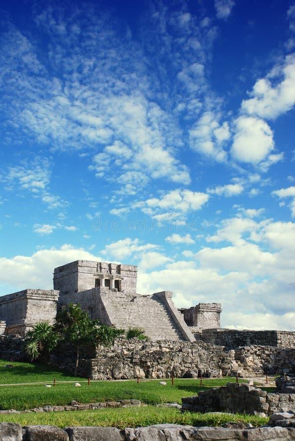 Tulum ruins in Mexico. El Castillo de Tulum, a Maya Pyramid stock photos