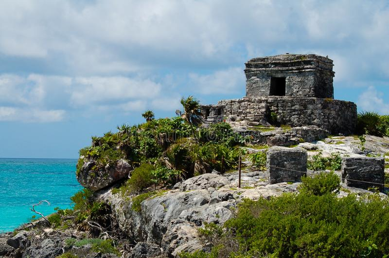 Tulum Ruins in Quintana Roo, Mexico. Mayan Ruins Perched on a Cliff over the Caribbean Sea in Quintana Roo State of royalty free stock image