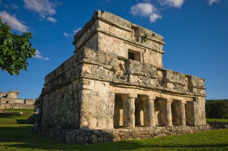 Tulum temple. The temple of the frescoes, tulum, mexico stock photo