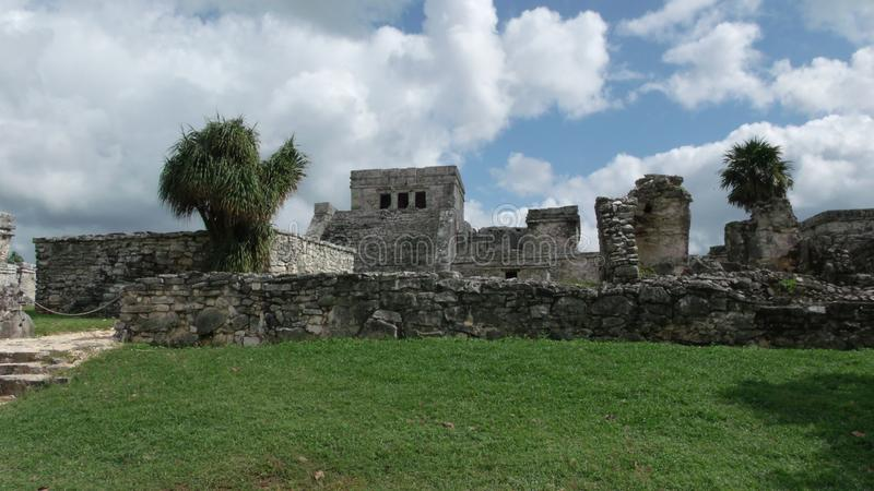 Tulum, a walled city of the Mayan culture royalty free stock image