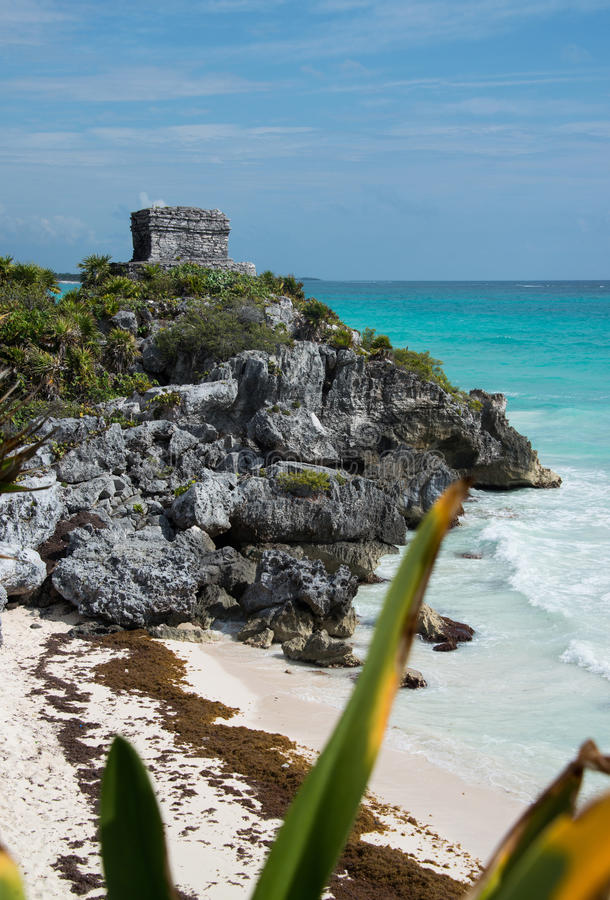 Tulum watch tower in Mexico. Tulum Mayan ruins watch tower in Mexico on Caribbean coastline stock image