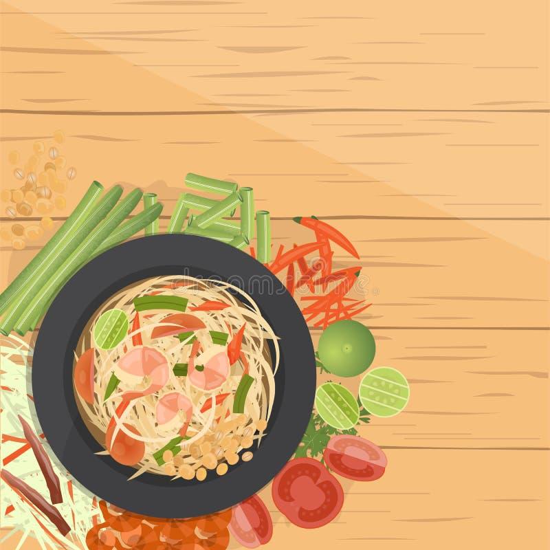 Tum del som, insalata verde tailandese della papaia, con gli ingredienti royalty illustrazione gratis