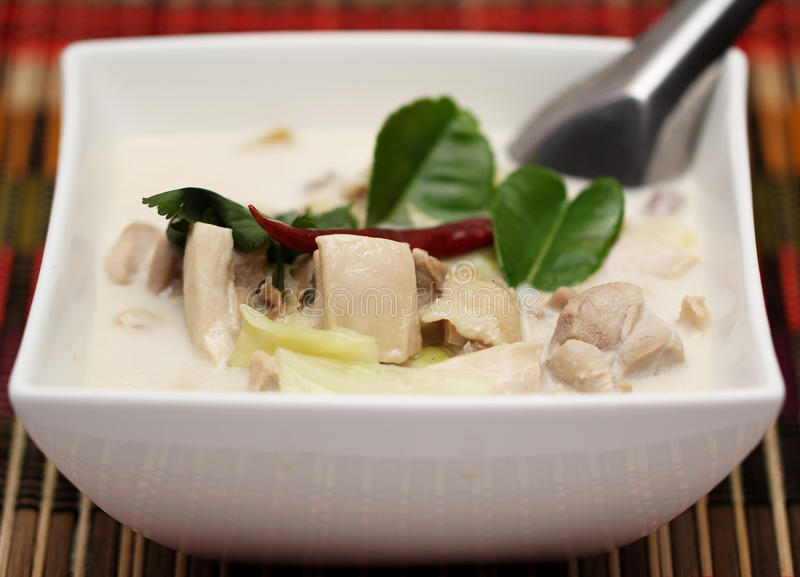Tum Kha Kai Thai Food. Chicken in coconut milk soup royalty free stock images