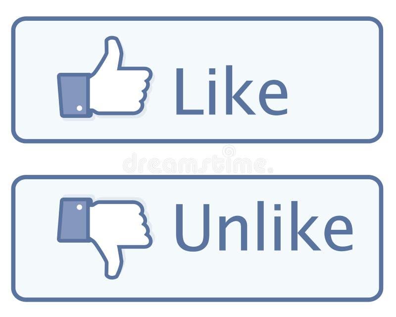 Tum Like upp symbolen vektor illustrationer