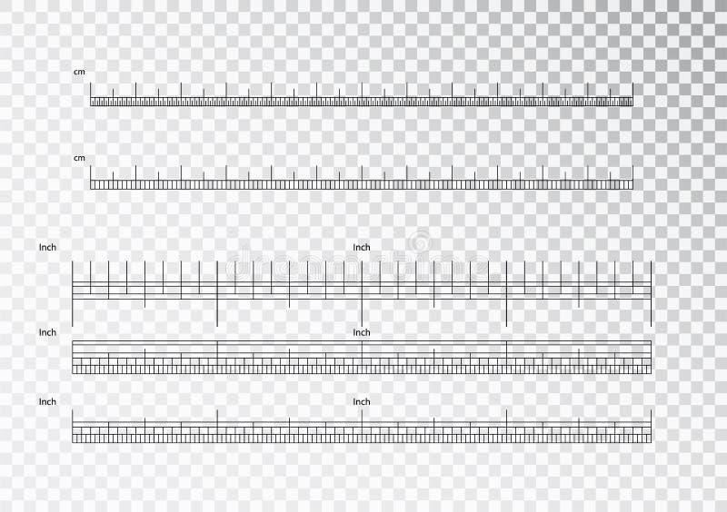 Tum och meterlinjaler Cm och tum som mäter indikatorn för skalacm-metrik Cm för precisionmätning stock illustrationer