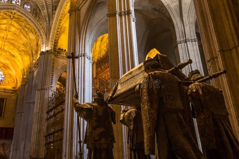 Tumba de Cristóbal Colón, catedral de Sevilla, Sevilla, España fotos de archivo