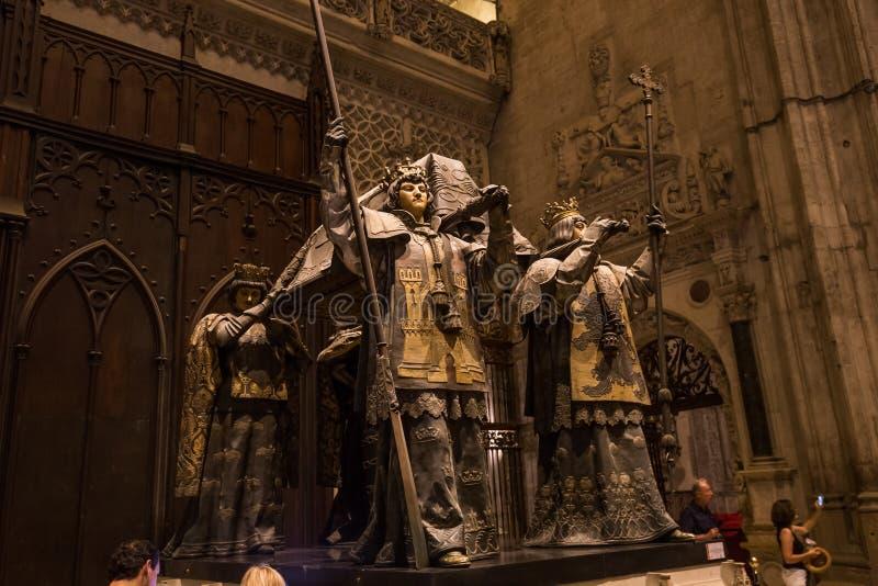 Tumba de Cristóbal Colón, catedral de Sevilla, Sevilla, España imagenes de archivo