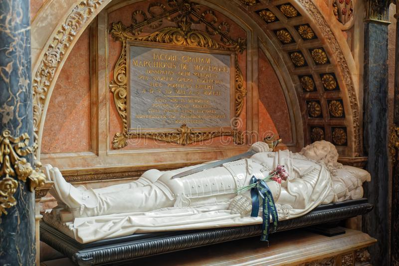 Tumba de James Graham, marqués de Montrose - St Giles Cathedral - Edimburgo, Escocia fotos de archivo libres de regalías