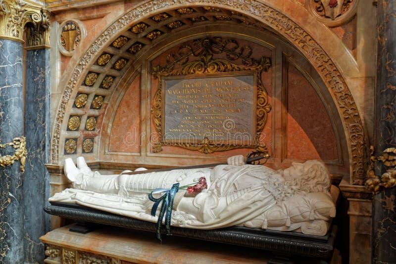 Tumba de James Graham, marqués de Montrose - St Giles Cathedral - Edimburgo, Escocia foto de archivo libre de regalías