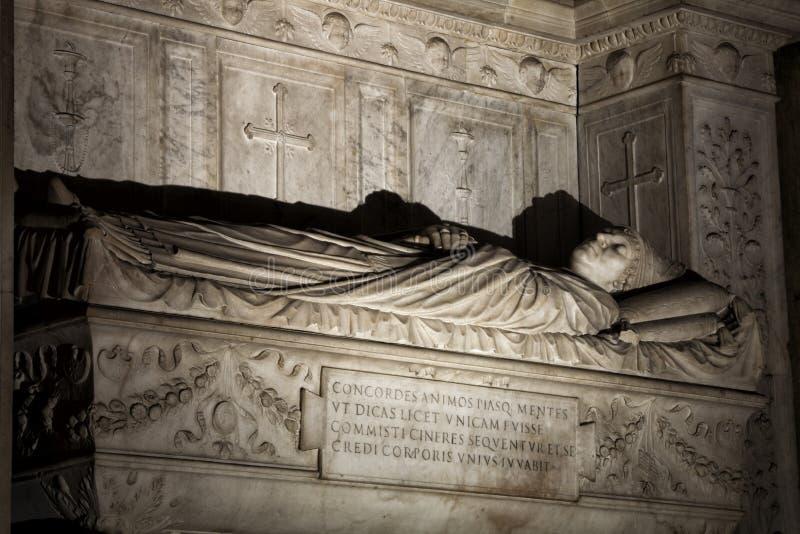Tumba de los cardenales Cristoforo y Domenico della Rovere 1479 Santa Maria del Popolo Church ilustración del vector