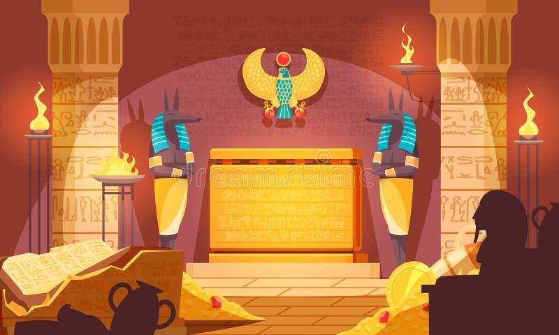 Tumba egipcia interior oscuro stock de ilustración