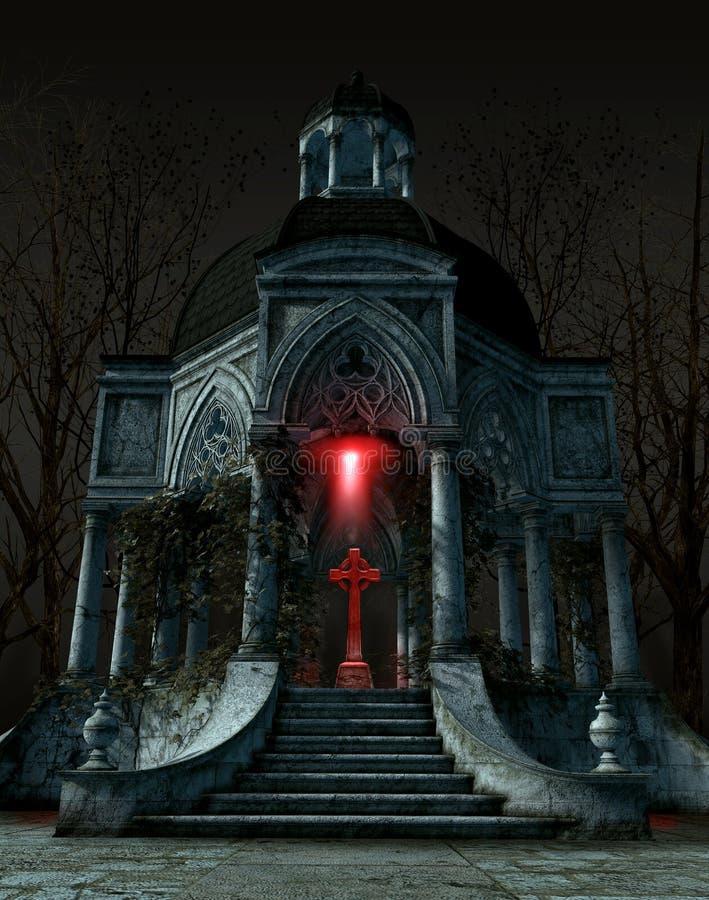 Tumba gótica del mausoleo con una lápida mortuaria situada en el centro del espacio interior stock de ilustración
