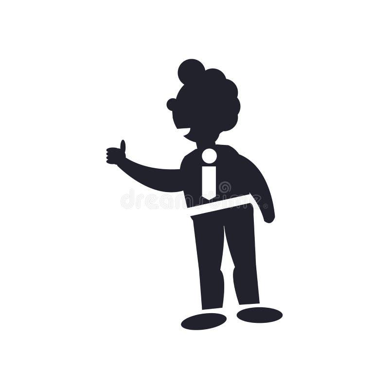 Tumba w górę biznesowego mężczyzny ikony wektoru znaka i symbolu odizolowywających na białym tle, Tumba w górę biznesowego mężczy royalty ilustracja