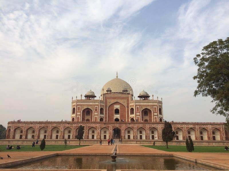 Tumba y fuente de Humauns en la visita de Delhi imagen de archivo libre de regalías