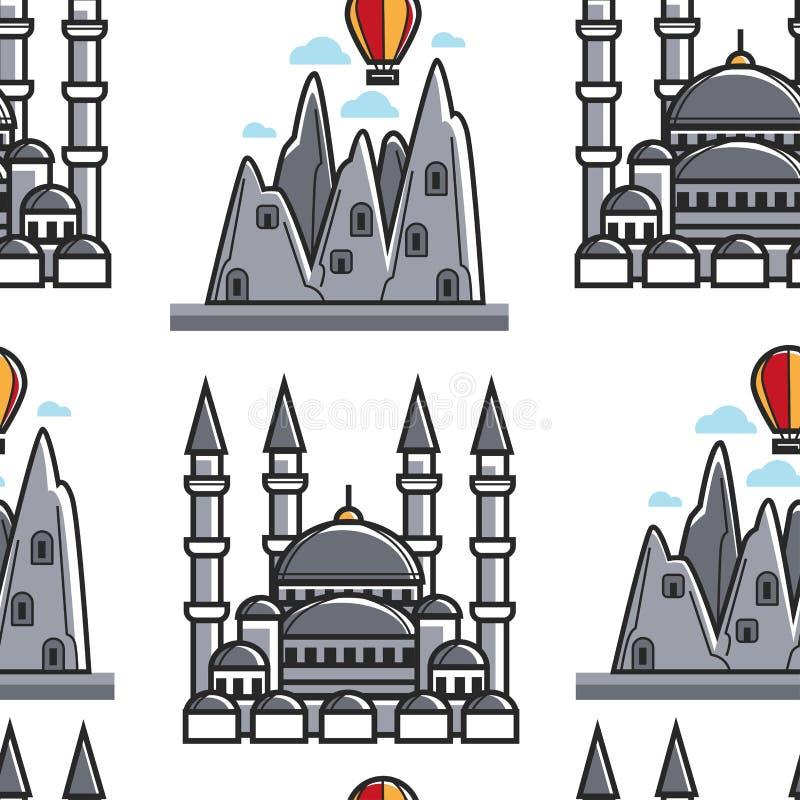 Tumbas de Turquía Lycian y modelo inconsútil de Sultan Ahmed Mosque ilustración del vector