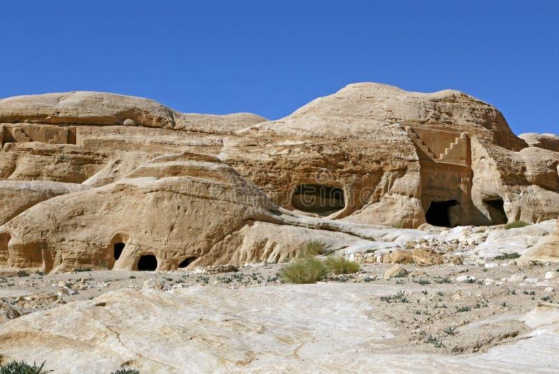 Tumbas del Petra, JORDANIA foto de archivo libre de regalías