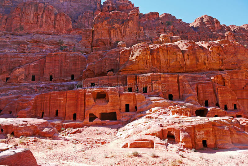 Tumbas del Petra, JORDANIA imagen de archivo