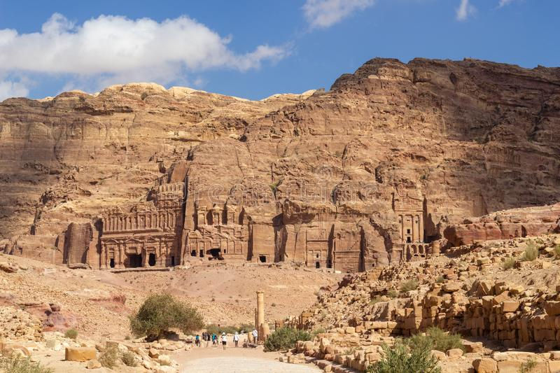 Tumbas reales en el Petra imágenes de archivo libres de regalías