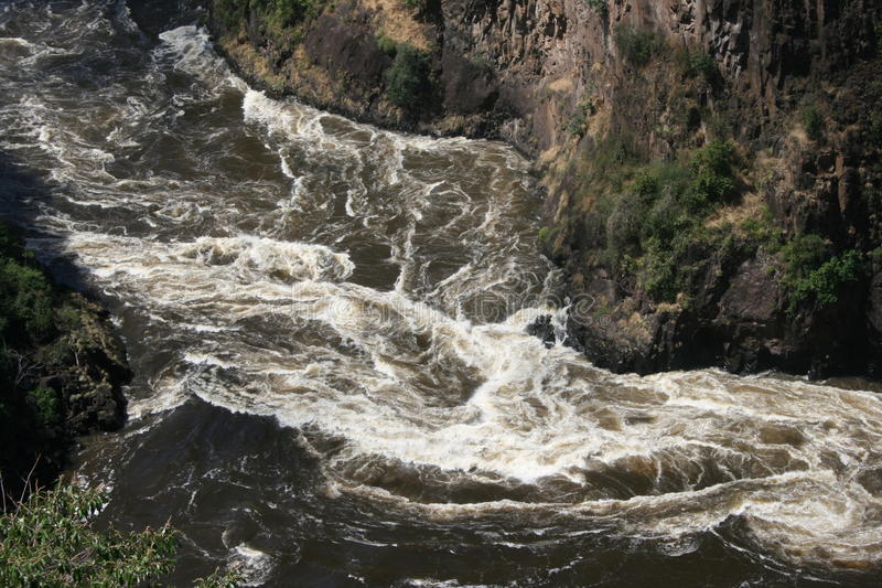Tumble. After the waterfalls in the zambezi the tumble begins for rafting stock photography