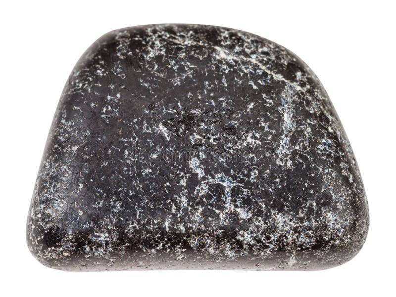 Tumbled Chromite stone isolated on white royalty free stock images