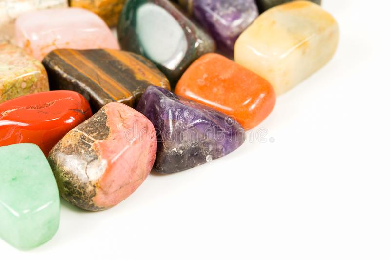 Tumbled stones for crystal therapy treatments and reiki stock photography
