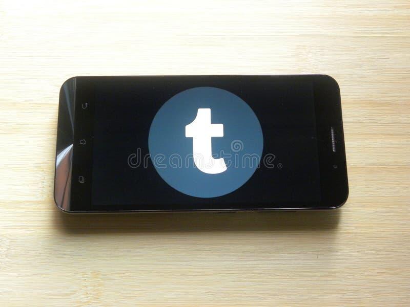 Tumblr på mobiltelefonen royaltyfri bild