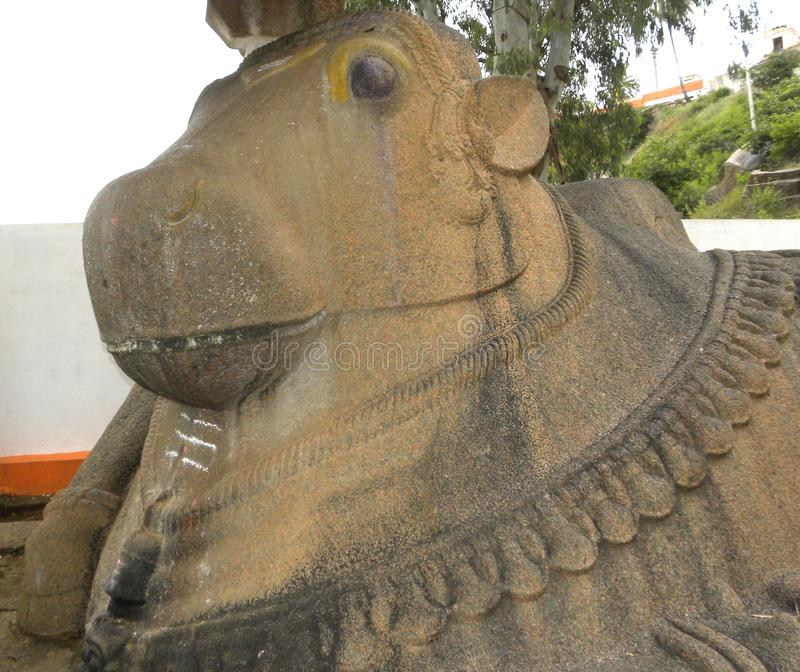 Tumkur, статуя камня быка Karnataka, Индии - 1-ое января 2009 огромная Nandi вне виска стоковая фотография rf