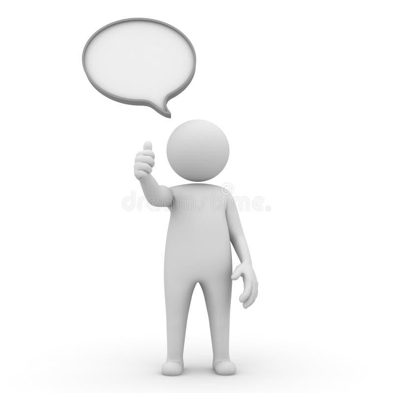 tumm blankt mananförande för bubblan 3d upp royaltyfri illustrationer